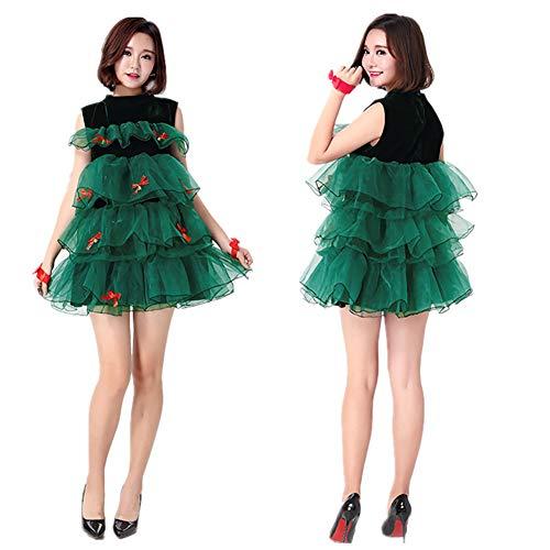 Elegante Fiesta Verde Moda Vestido Sin Cwzj Las Árbol Lindo Mangas De Mujeres Falda Navidad Yfwxdwq