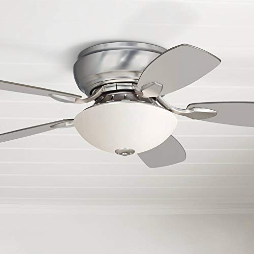 44 Casa Habitat Modern Hugger Ceiling Fan with Light LED Brushed Nickel Reversible Silver White Blades Frosted Glass for Living Room Kitchen Bedroom Family Dining – Casa Vieja