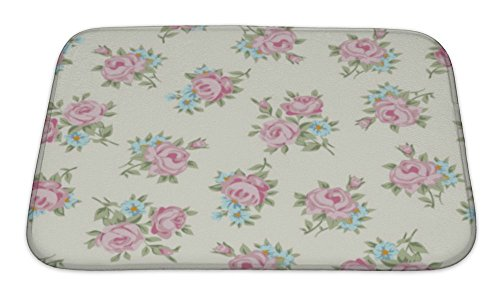 Rose Rug Antique - Gear New Shabby Chic Rose Bath Mat Rug, Microfiber Memory Foam with no skid back, 24