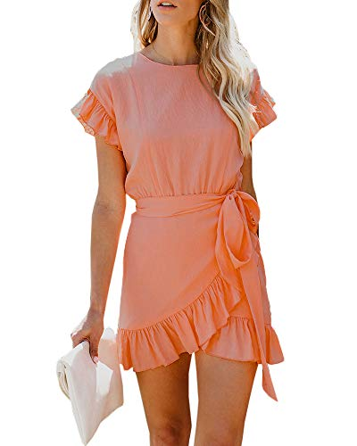 (Youxiua Womens Wrap Ruffle Dresses Short Sleeve Casual Party Empire Waist Belts Mini Dress (Small, A-Picture Color))