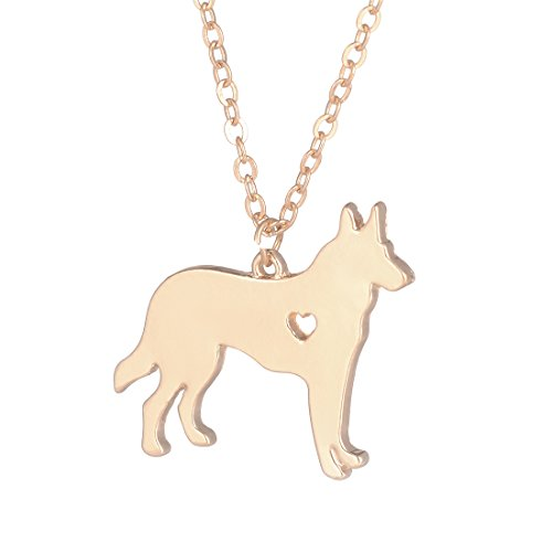 YuQiang Gold German Shepherd Necklace Dog Pendant Jewelry Breed Pet Jewelry Memorial Gift Hunters lovers (Breed Pet Memorial)