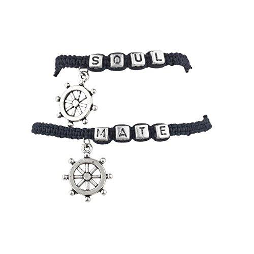 Lux Accessories Soul Mate Ship Wheel Nautical Bracelet Set (2PC) (Glass Block Soul Mate)