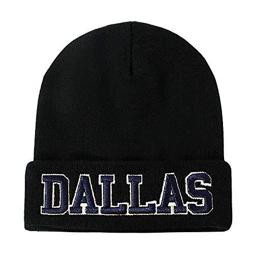 Classic Cuff Beanie Hat - Black Cuffed Football Winter Skully Hat Knit Toque Cap (Dallas)