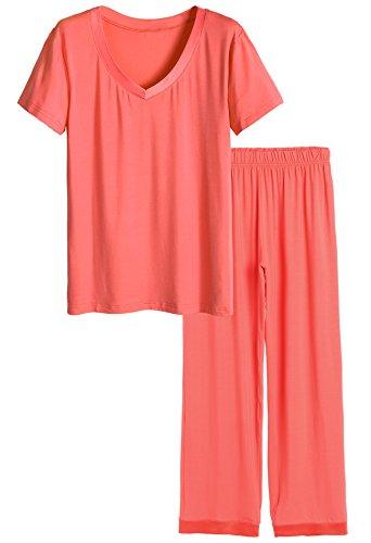 Latuza Women's V-Neck Short Sleeves Pajama Set L Coral