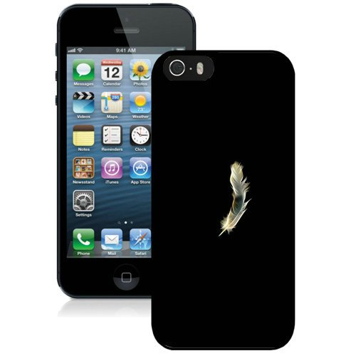 Coque,Fashion Coque iphone 5S Noir blanc Abstract Feather Noir Screen Cover Case Cover Fashion and Hot Sale Design