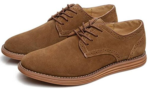 Summerwhisper Men's Trendy Low Top Round Toe Lace-up Frosted Leather Shoes Flats Oxfords Camel 10 D(M) US