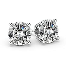 NANA Stud Earrings Sterling Silver Round-Cut Swarovski CZ-Surgical Stainless Steel Post Hypoallergenic. Double notch post for extra security, Extra Large7.00mm Friction Backs for Comfort and Stability