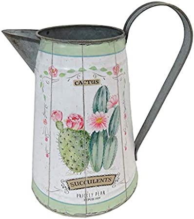 1L Shabby Chic Blue Flower Print Enamel Jug with Quote /'You Are My Happy/'