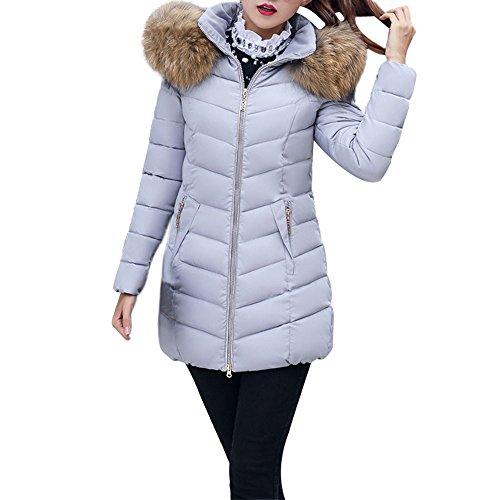 JESPER Fashion Winter Women Puffer Jacket Long Thick Warm Slim Coat Removable Hooded Grey
