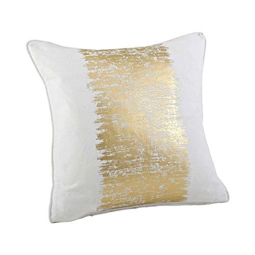 SARO LIFESTYLE Agatha Collection Metallic Banded Design Cotton Down Filled Throw Pillow-Gold,20