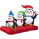 Airblown Inflatable Outdoor Christmas Penguin Sled Scene 5 Ft. Wide
