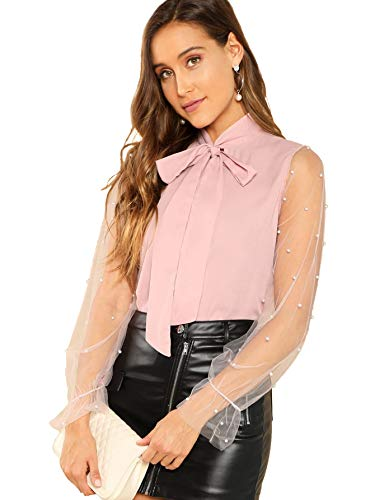 MAKEMECHIC Women's Pearl Beading Sheer Contrast Mesh Sleeve Tie Neck Top Elegant Blouse Pink L