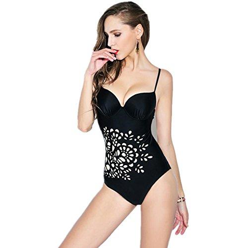 SZH YIBI Traje de baño de las mujeres traje de baño traje de baño de primavera de impresión de auto-cultivo Europa y el traje de baño de de alta elasticidad Black