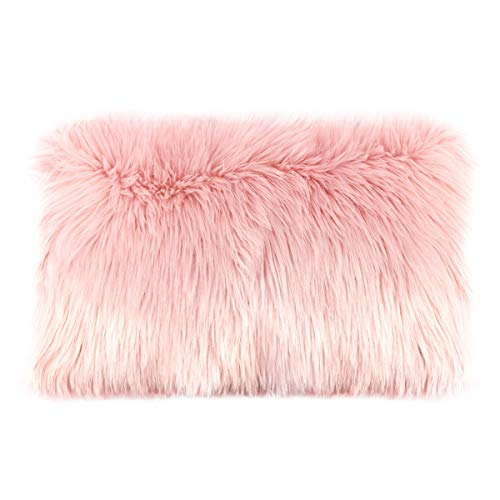 Ojia Faux Fur Throw Pillow Cover Lumbar Cushion Case Super Soft Plush Accent Pillows Case Decorative New Luxury Series Style (12 x 20 Inch, Thick Pink) (Fur Blush Pillow)