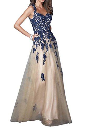 Applikation Traeger Spitze Bodenlang Dunkelblau Milano A Bride Elegant Abendkleider Linie Zwei BrautKleider qUpBRw