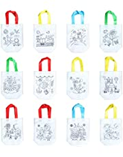 ULTNICE 12 Pcs Coloring Goodie Bag Eco Reusable Painting Carnival Animal Art Party Favor Bag Kids Graffiti Toy for Birthday Tea Party Wedding and Party Celebration