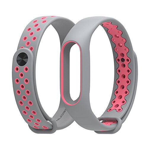 Strap Original Wrist (Original MIJOBS Sport Edition Wrist Strap Colorful Silicone Bracelet Double Color Replacement Wristband for Xiaomi Mi Band 2(Grey and Pink))