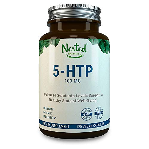 - 5-HTP 100 mg | 120 Vegan Capsules | Helps with Mood, Sleep, Relaxation, Calm and Appetite Control | Naturally Sourced Serotonin Booster | Anti Stress & Temporary Anxiety Relief Support Supplement