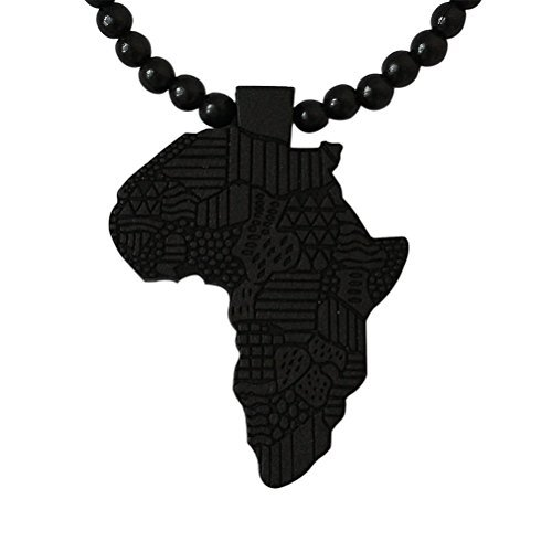Generic Hip-Hop African Map Pendant Wood Bead Rosary Necklaces