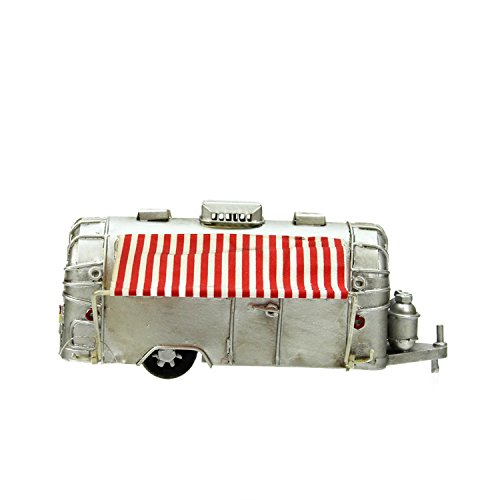 ver Vintage Style Camper with Red and White Striped Awning Christmas Village Accessory ()