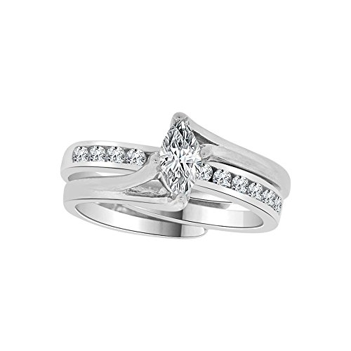 14k White Gold, Lady 2 Piece Set Wedding Ring Marquise Created CZ Crystals 4mm 0.50ct Size 8 by GiveMeGold