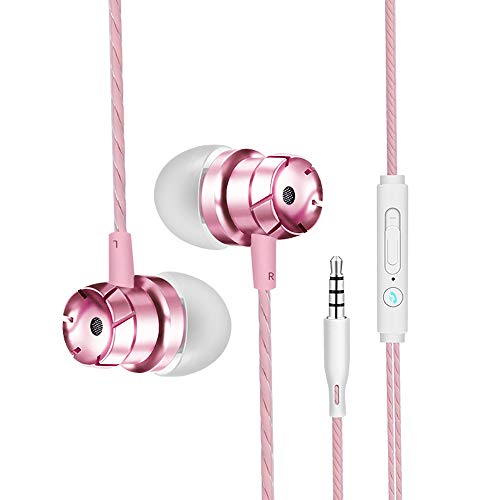 Xiuzhifuxie in-Ear Headphones Turbo Metal Subwoofer with Wheat Line Control Mobile Phone Computer MP3 Universal Headphones Ergonomic Comfort-Fit (Color : Rose Gold) -