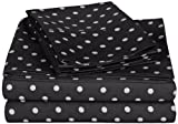 Superior Polka Dot Sheet Set, 600 Thread Count Cotton Blend Bedding Sets, Soft and Wrinkle Resistant Sheets with Deep Fitting Pockets - Twin, Black