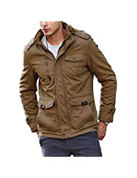 pit4tk Men's Winter Slim Fit Casual Thicken Multi-Pocket Outwear Jacket Coat with Removable Hood