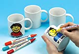 Baker Ross Design Your Own Mugs (Pack of 4) Large White Porcelain Mugs For Kids To Decorate, Arts and Crafts