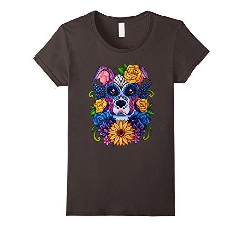 [Womens Day Of The Dead Pitbull Shirt Costume Dia De Los Muertos Medium Asphalt] (Dia De Los Muertos Female Costumes)