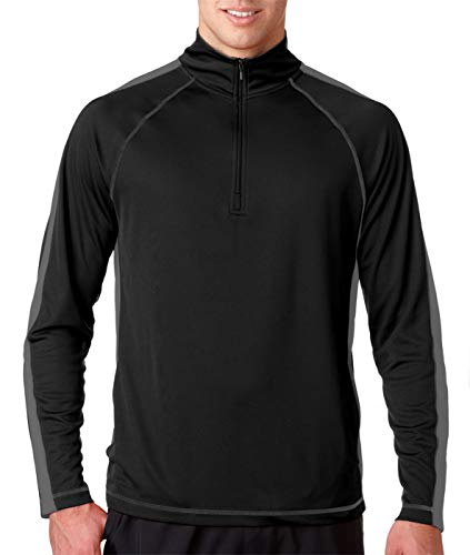 UltraClub Adult Athletic Performance Mesh Zipper Pullover, Blk/Chrcl, XXX-Large