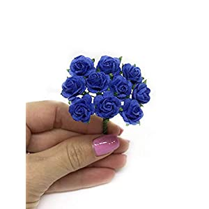 "1/2"" Royal Blue Mulberry Paper Flowers, Paper Roses, Blue Flowers, Floral Crown Flowers, DIY Wedding, Wedding Table Flowers, Navy Blue Wedding, Artificial Flowers, 50 Pieces 4"