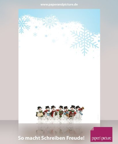Music playing snowmen fantastic christams stationery set with sheets and matching window envelopes