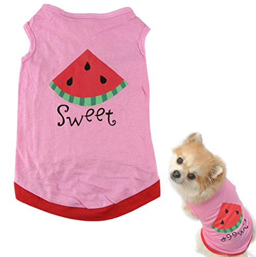 - HP95(TM) New Summer Cute Small Pet Dog Puppy Cat Clothes Watermelon Printed Pink Vest (M)