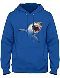 Great White Shark 3D Feel Hoodie (XXl, Royal Blue)