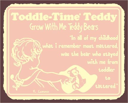 Toddle Time Teddy Bear Vintage Metal Art Childrens Retro Tin Sign