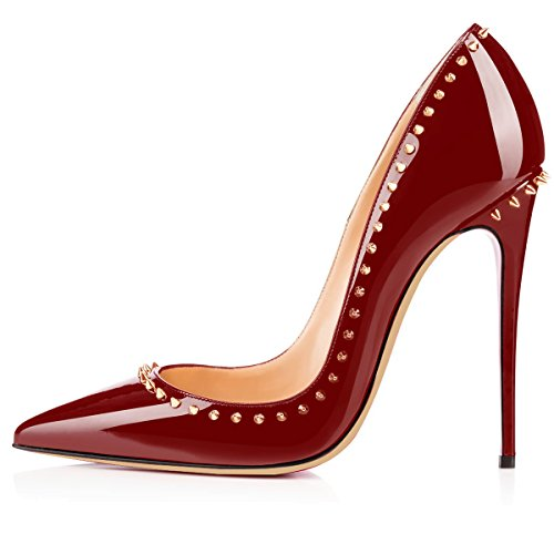 Eldof Womens High Heel Pumps Pointed Toe Rivet Sexy 12cm Stilettos Evening Dress High Heels For Lady Wine skel1ExA7c