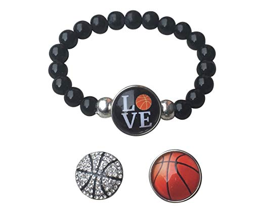 Sportybella Basketball Interchangeable Snap Charm Bracelet- Beaded Basketball Jewelry for Basketball Players