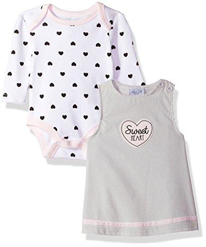 Sweetheart Jumper (Rene Rofe Baby Little Girls' Newborn and Infant 2 Pc Jumper and Bodysuit, Sweet Heart, 12M)