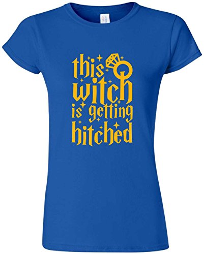 Getting Hitched (This Witch is Getting Hitched Funny Married Engaged Wedding T-Shirt (Medium, Ladies))