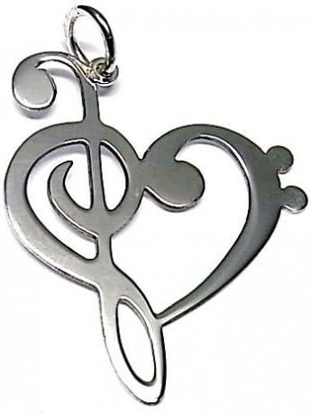 Minoplata Pendentif Coeur cl/és de Soleil et de FA en Argent Sterling Une Bijoux Parfaite pour Faire Un Cadeau sp/écial A amanes de la Musique