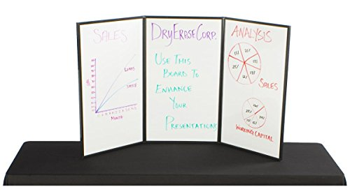 Displays2go 3-Panel Table Presentation Board, 54 x 30 Inches, Blue Velcro Fabric and White (3PV5430BLU) by Displays2go (Image #2)