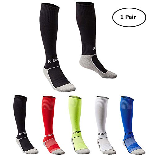 Kids Long Soccer Socks Sports Team Tube Compression Stockings Knee High Football Socks (Black)]()