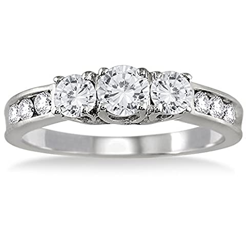 - 41hX83GWnhL - AGS Certified 1 Carat TW Diamond Three Stone Ring in 10K White Gold (K-L Color, I2-I3 Clarity)