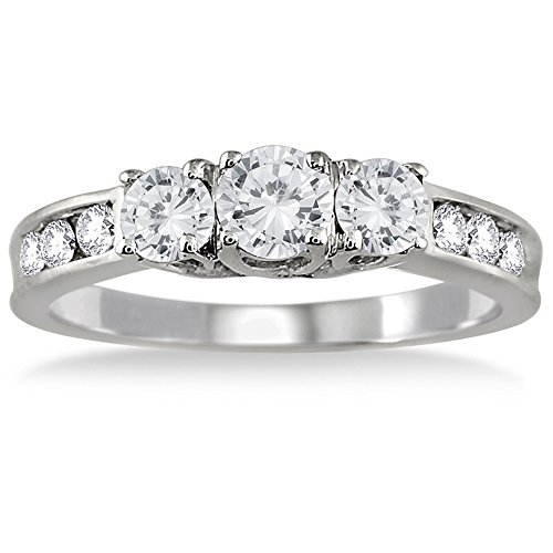 - AGS Certified 1 Carat TW Diamond Three Stone Ring in 10K White Gold (K-L Color, I2-I3 Clarity)
