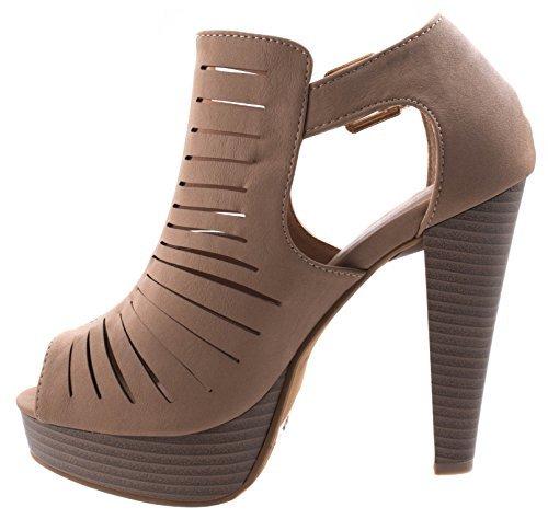 le-6 Tan Peep Toe Gladiator Bootie Platform Sandal Chunky Heel Closed Back T-Strap 6 D(M) US ()