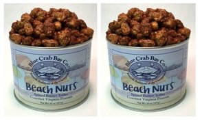 Blue Crab Bay Beach Nuts - Spiced Butter Toffee Gourmet Virginia Peanuts - TWIN PACK - 2 10 oz tins