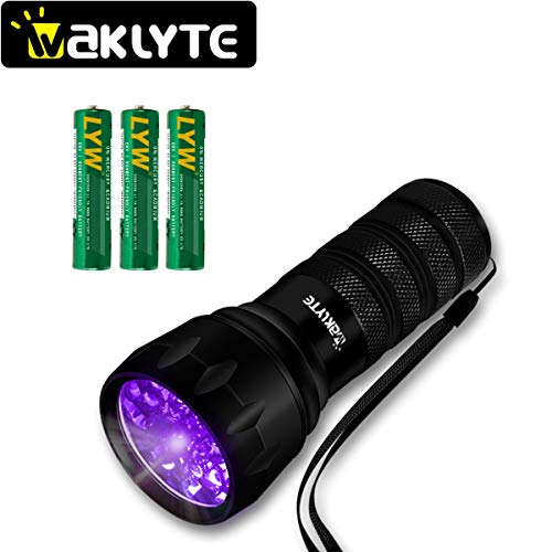 - Waklyte Black Light, Mini UV Flashlight, 21 LED 395 nm Ultraviolet Blacklight Detector for Dog Urine, Pet Stains and Bed Bug (Battery Included)