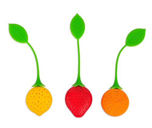 Internet's Best Silicone Tea Infuser Strainer | Set of 3 | Loose Leaf Filter Steeper | Deep Tea Mug Cup Steeper | Orange Lemon Strawberry Shape Design (Strawberry Strainer)
