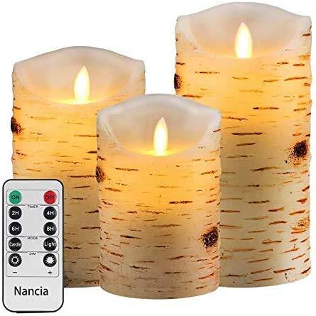 Nancia Led-kaarsen, vlamloze kaarslichten, berkenstammen, design echte was, batterij kaarsen (verpakking van 3 stuks), 4…